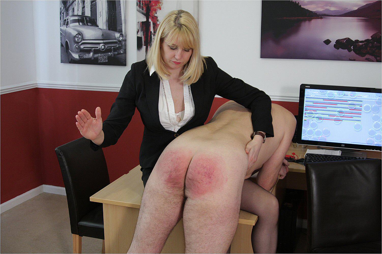 Female spanking male